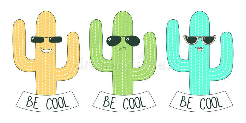 Jest chłodno majcherów kaktusami royalty ilustracja