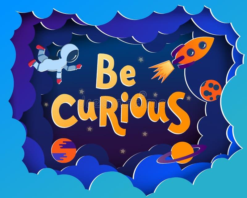 Jest Ciekawy Kreskówki stylowy kartka z pozdrowieniami z astronauta, planety zdjęcie stock