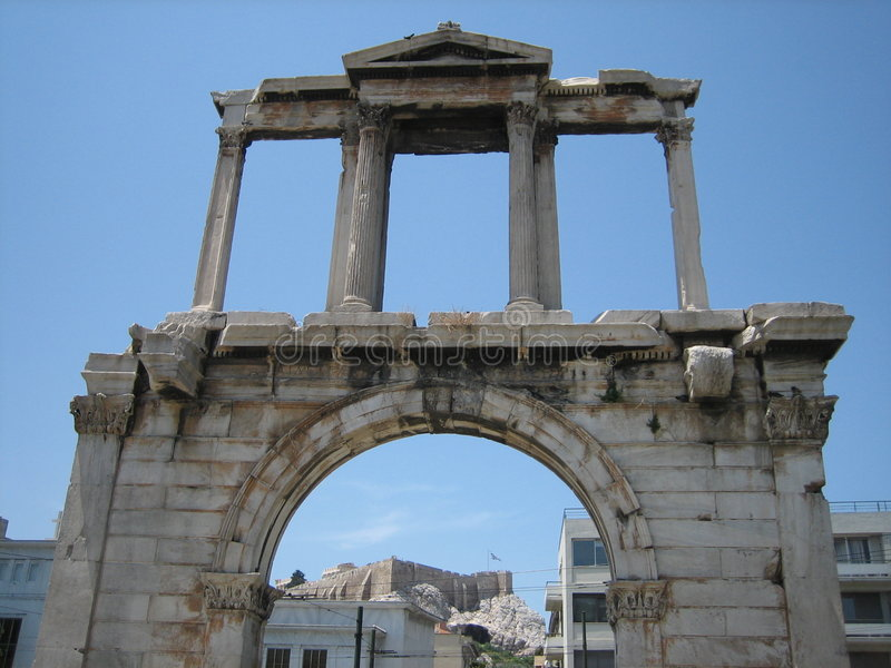 jest hardian arch Athens obraz royalty free