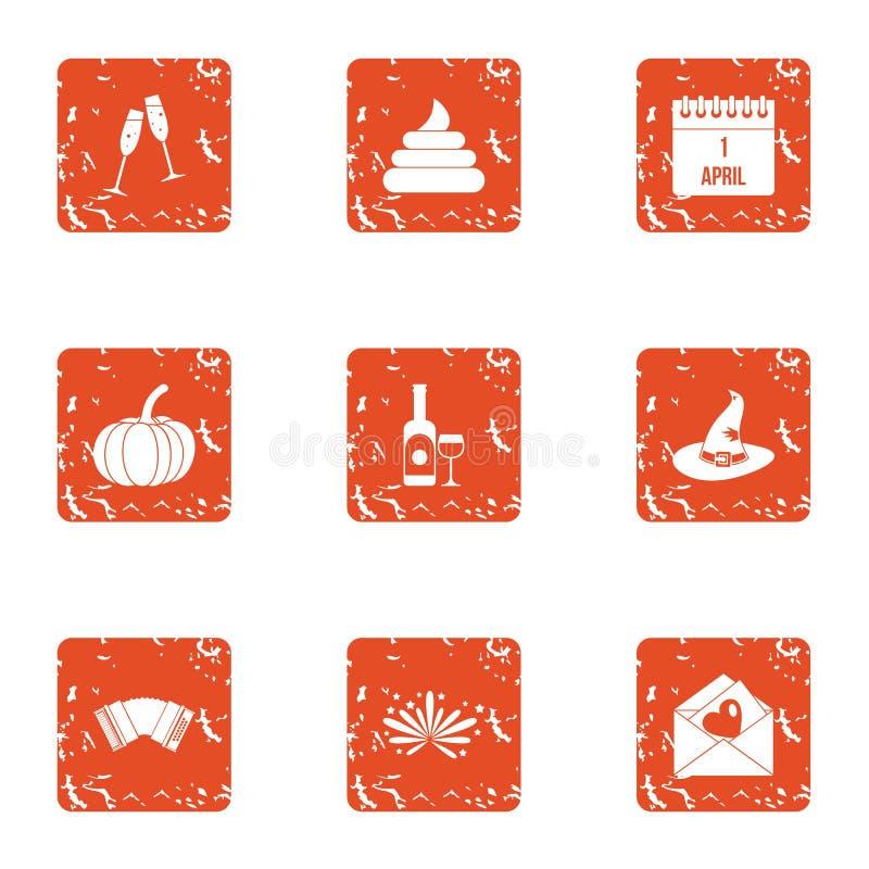Jest icons set, grunge style. Jest icons set. Grunge set of 9 jest vector icons for web isolated on white background royalty free illustration