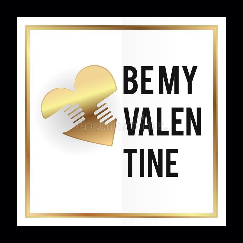 Jest mój valentine wektorowym ilustracyjnym karcianym projektem z kierowego symbolu złocistymi kolorami ilustracji
