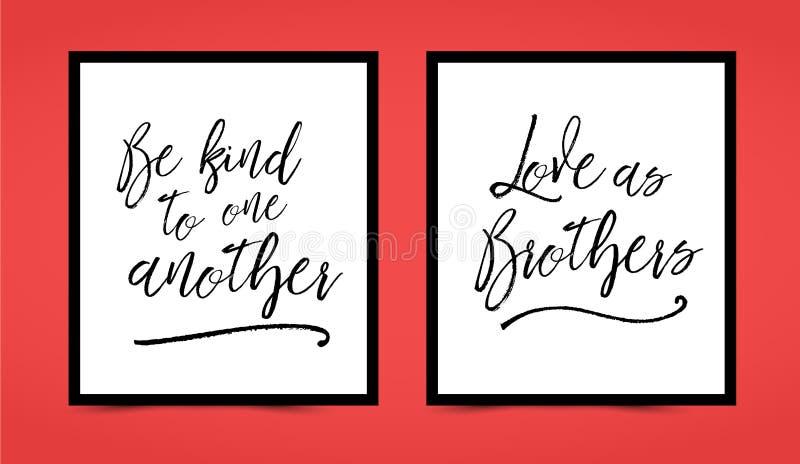 Jest miły jeden inny, miłość jako brata printable set ilustracji