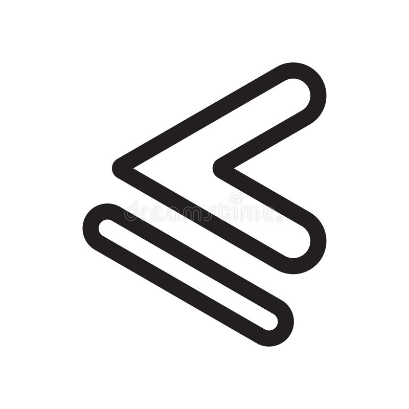 Jest mniej niż lub równy symbol ikony wektoru znak i symbol odizolowywający na białym tle, Jesteśmy symbolu logo mniej niż lub ró ilustracja wektor