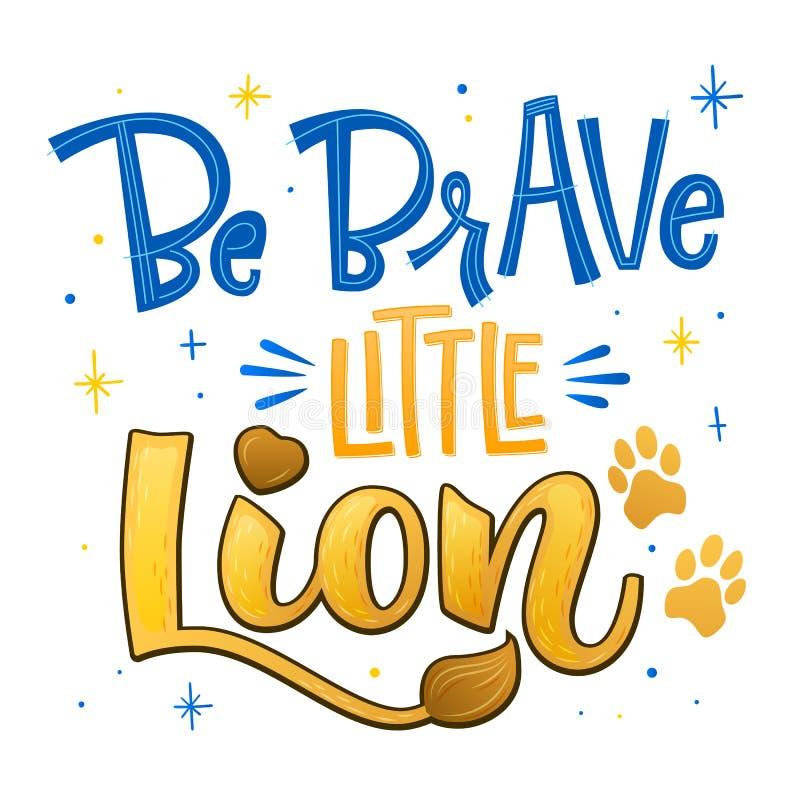 Jest odważnym małym lwa zwrotem Wręcza patroszoną kaligrafię i pisze scenariusz stylową dziecko prysznic literowania wycenę ilustracji