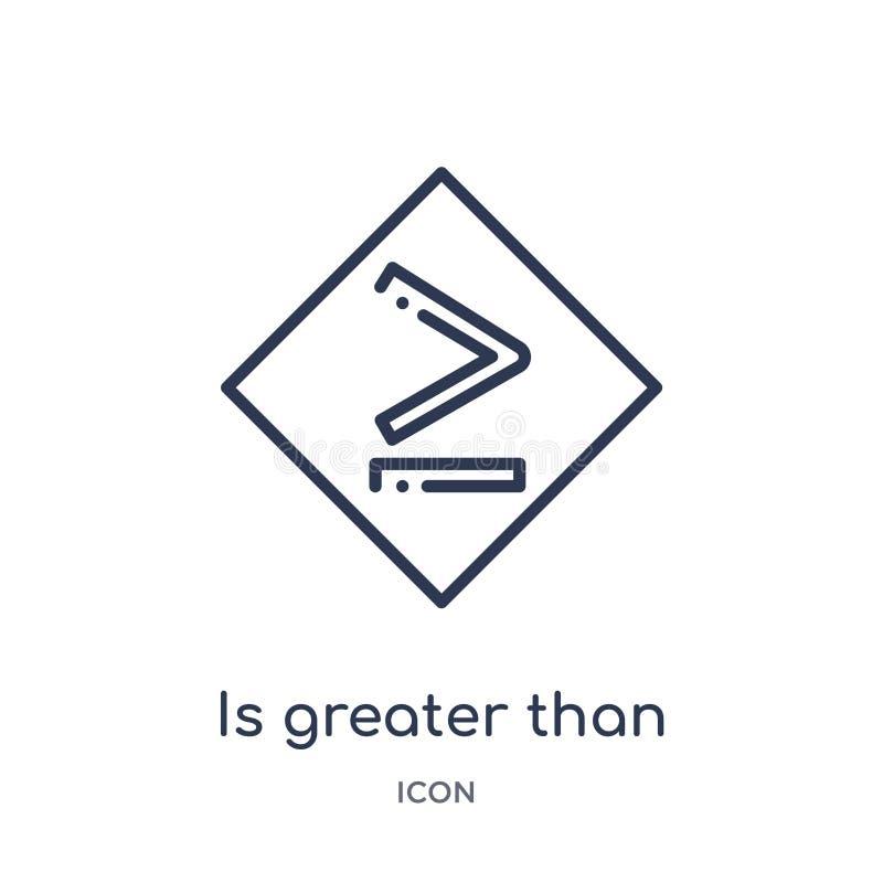 jest większy niż lub równy ikona od znaka konturu kolekcji Cienka linia jest większy niż lub równa ikona odizolowywająca na bielu royalty ilustracja