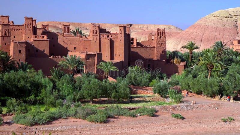 Jesteśmy warownym miastem wzdłuż poprzedniej karawanowej trasy między Marrakech w Maroko i Sahara Ait Ben Haddou lub Ait Benhaddo zdjęcie stock
