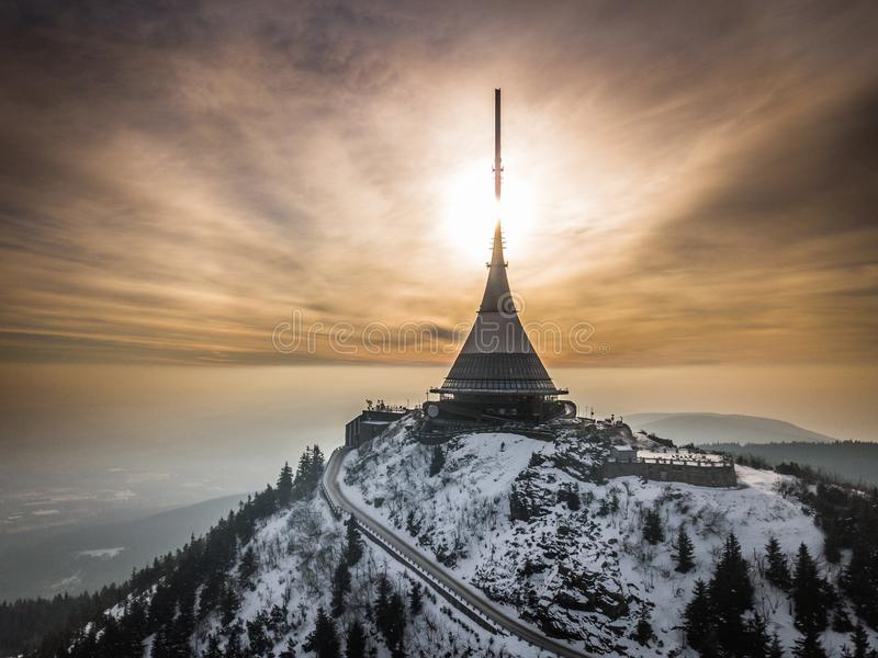Jested tower near by Liberec in Czech Republic. Jested is the highest mountain peak 1,012 m of Liberec in the north of the Czech Republic. On the summit is the royalty free stock photography