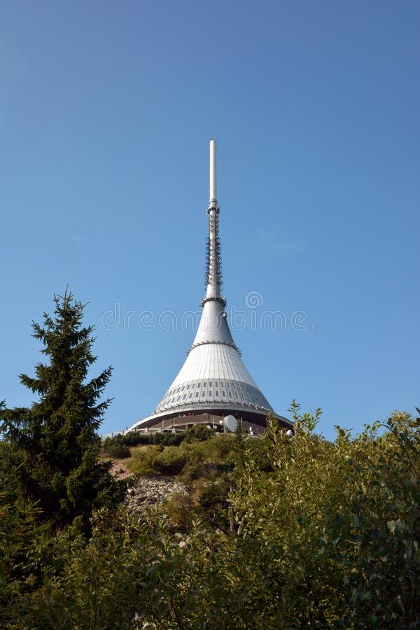 Jested lookout tower and telecomunications transmitter stock photos