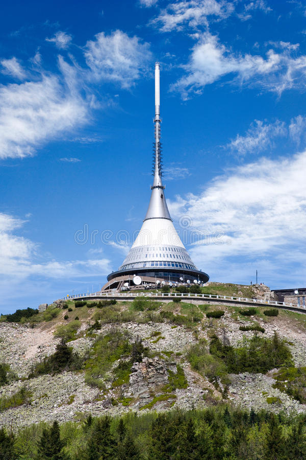 Jested mount and broadcaster near Liberec, Ore mountains, Czech. JESTED, CZECH REPUBLIC - AUG 12, 2014: Jested mount and broadcaster near Liberec, Ore mountains royalty free stock photos