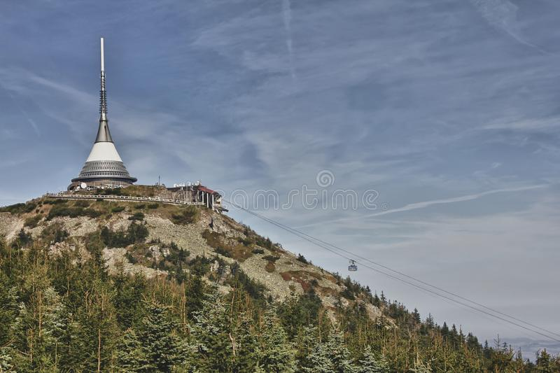 Jested - unique architectural building. Hotel and TV transmitter on the top of Jested Mountain, Liberec, Czech Republic stock photo