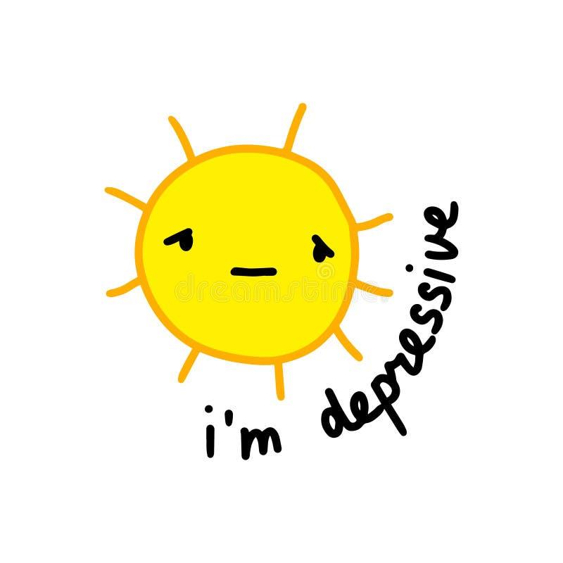 Jestem depressive ręka rysującym wektorowym ilustracją w kreskówka stylu Żółty kawaii twarzy lato gorący royalty ilustracja