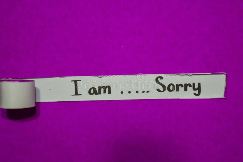 Jestem Zmartwionego, inspiracji, motywacji i biznesu pojęciem na purpura drzejącym papierze, fotografia stock