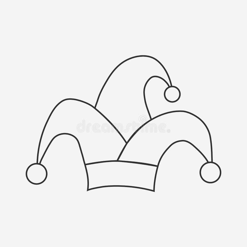 Jester κλόουν εικονίδιο σχεδίου περιλήψεων καπέλων οριζόντια μαύρο ελεύθερη απεικόνιση δικαιώματος