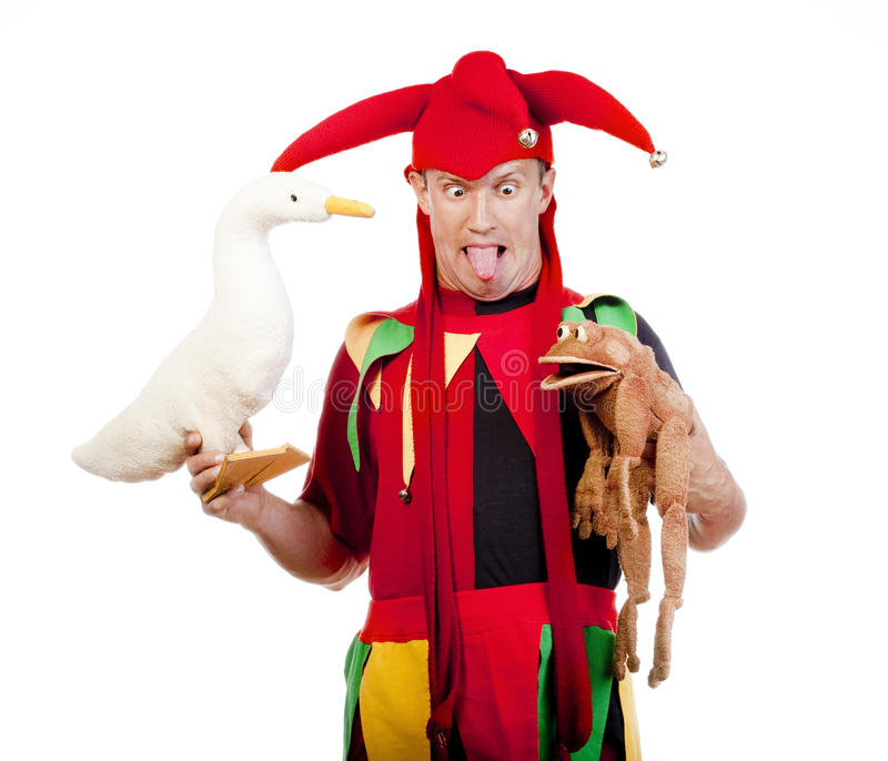 Jester με τις μαριονέτες στοκ εικόνες με δικαίωμα ελεύθερης χρήσης