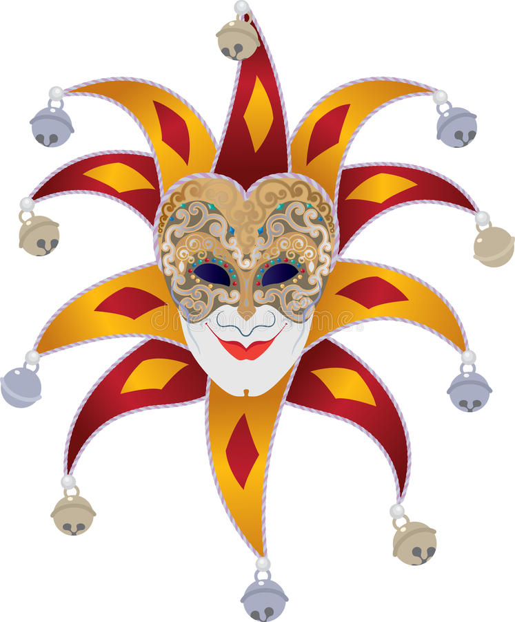 Jester. Venetian mask with bells jester stock illustration