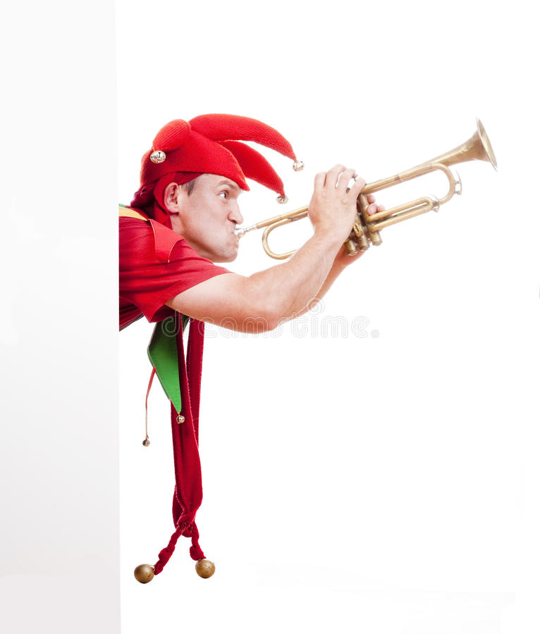 Download Jester blowing trumpet stock illustration. Illustration of entertainment - 25489358
