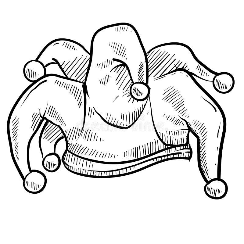 Jester cap sketch stock illustration