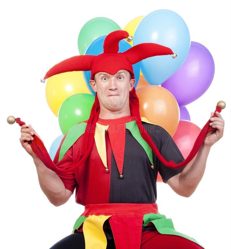 Jester com balões fotografia de stock