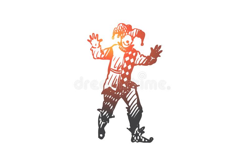 Jester, costume, funny, carnival concept. Hand drawn isolated vector. royalty free illustration