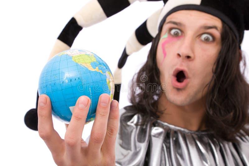 Jester engraçado com globo fotos de stock