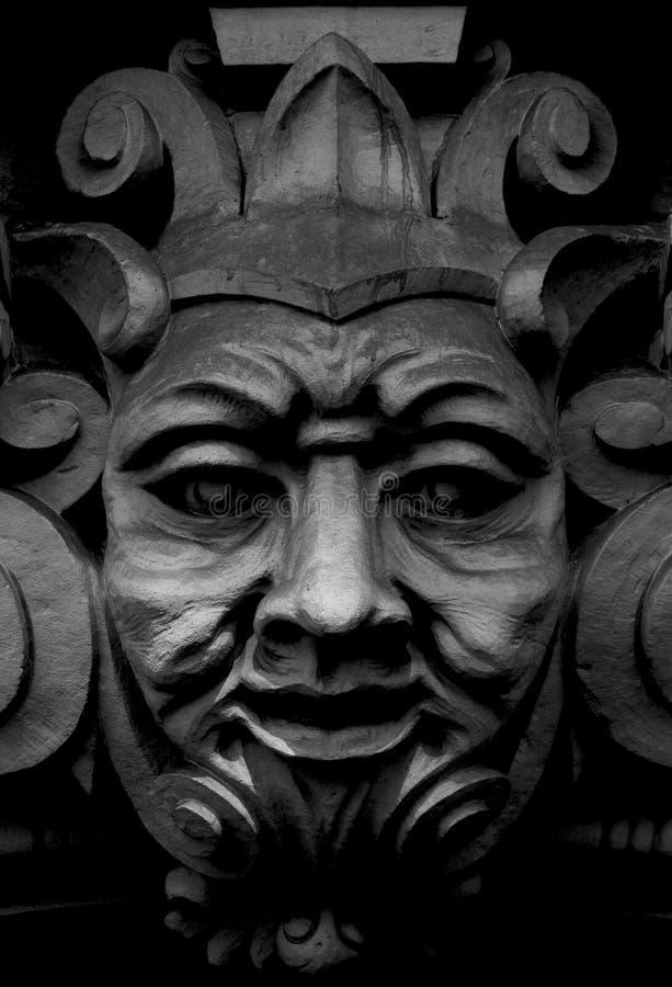 Jester face on the main facade stock photo