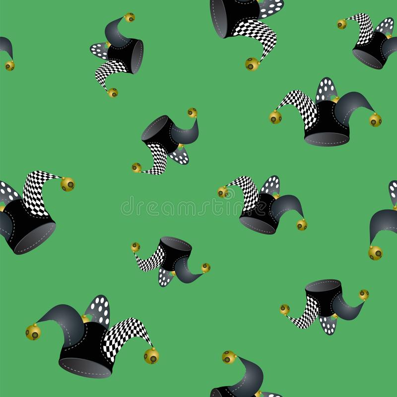 Jester Hat Seamless Pattern illustrazione di stock