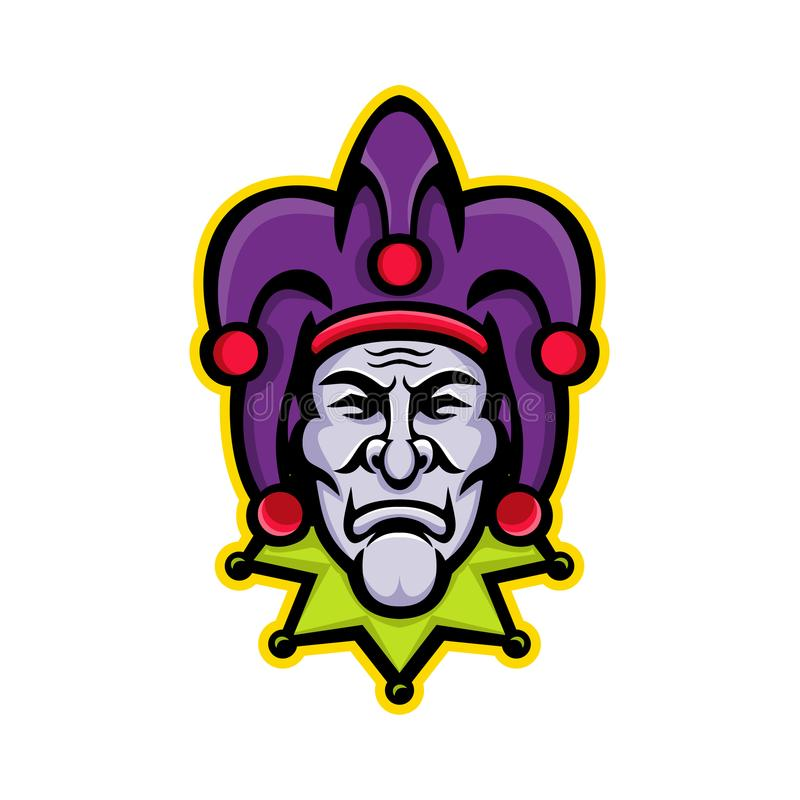 Jester Head Mascot. Mascot icon illustration of head of a jester, court jester, or fool, historically an entertainer during the medieval and Renaissance eras vector illustration