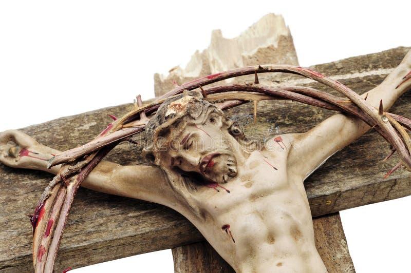 Jesucristo y corona de espinas sangrienta fotografía de archivo libre de regalías