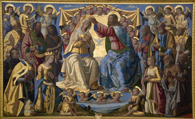 Jesucristo y coronación de Maria - Siena santos fotos de archivo libres de regalías