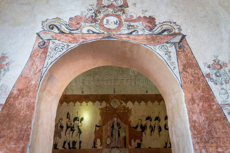 Jesuit Mission wall paintings in San Jose de Chiquitos, Bolivia stock photos