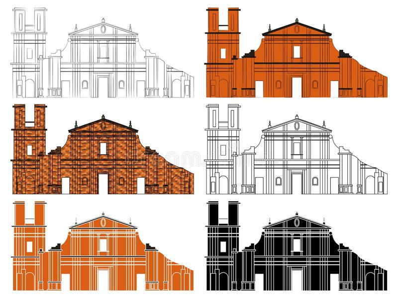 Jesuit Missions - Building facade. Church facade belonging to the Jesuit reductions in America vector illustration