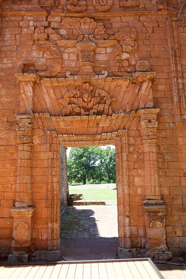 Jesuitbeskickningar av La Santisima Trinidad de ParanÃ, Paraguay royaltyfria bilder