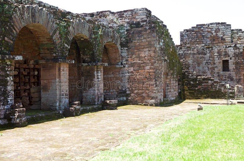Jesuitbeskickningar av La Santisima Trinidad de ParanÃ, Paraguay arkivbilder