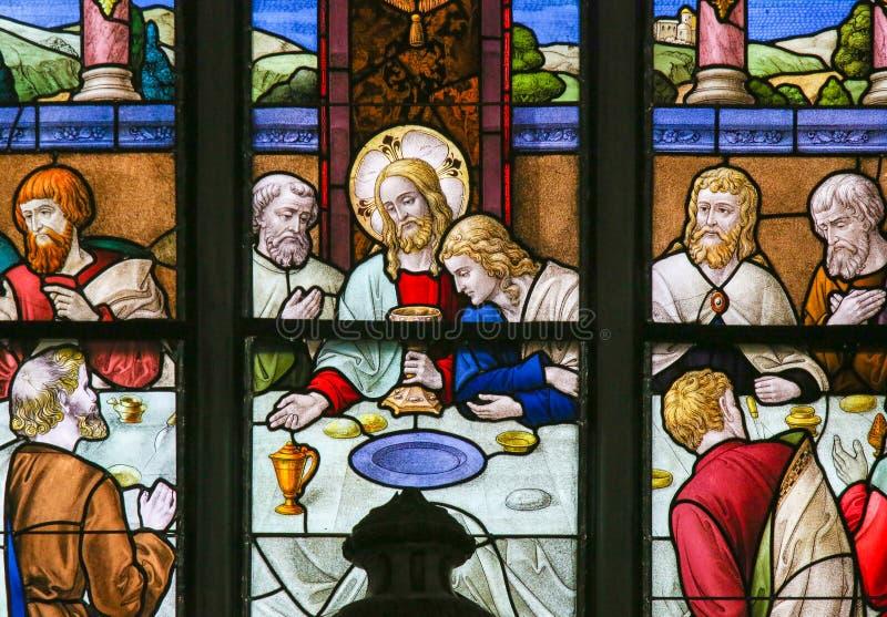 Jesus äntligen kvällsmål på skärtorsdagen - målat glass i Meche arkivfoto