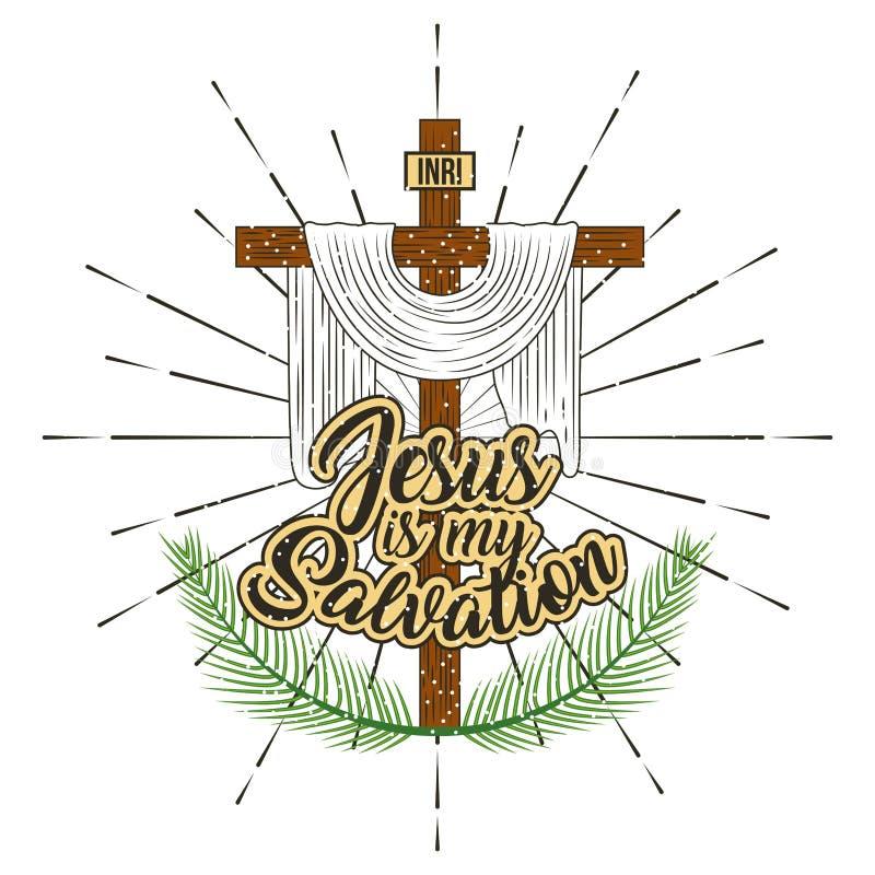 Jesus är mitt räddningkors, och filialer gömma i handflatan royaltyfri illustrationer