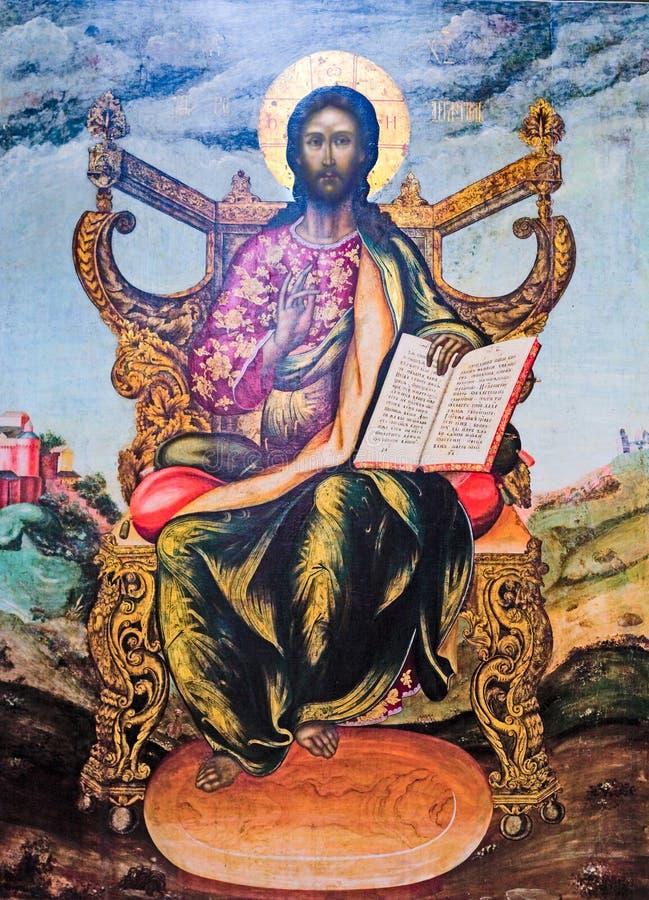 Jesus è il signore - icona antica fotografie stock