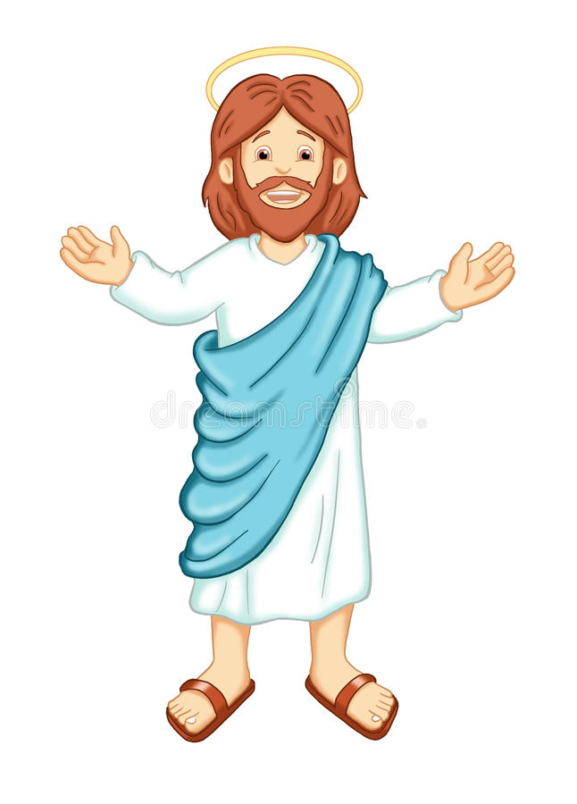 Jesus. Colored illustration of smiling Jesus