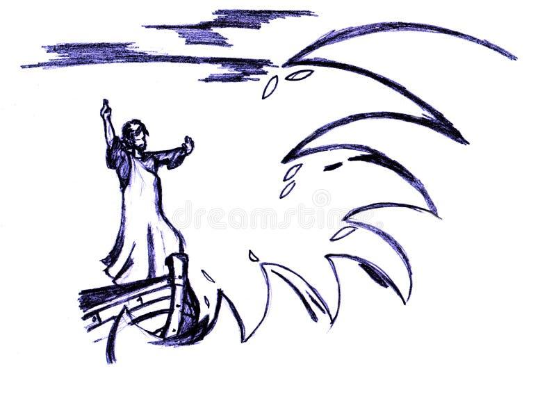 Jesus acalma a tempestade ilustração do vetor