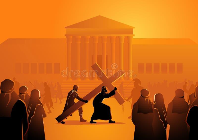 Jesus Accepts His Cross ilustración del vector