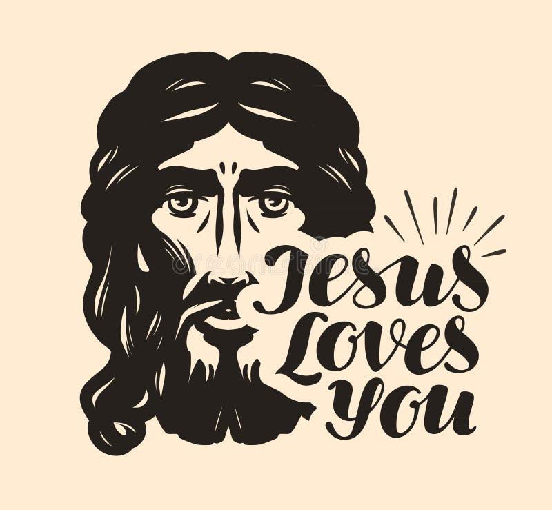 Jesus ama-o Ilustração bíblica Vetor cristão da rotulação ilustração royalty free