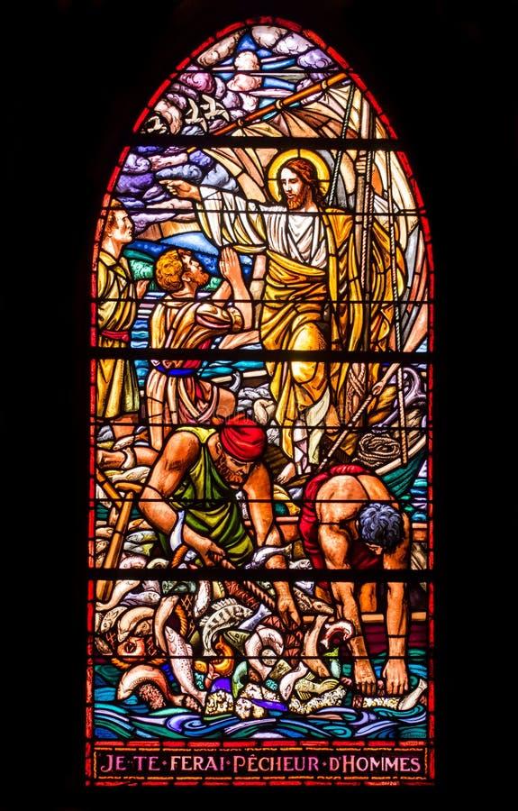 Free Jesus And Fishermen Stained Glass Window Stock Photo - 32646360