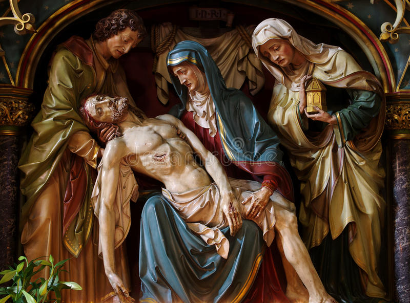 Jesus In The Arms Of Mary. Stock Photo
