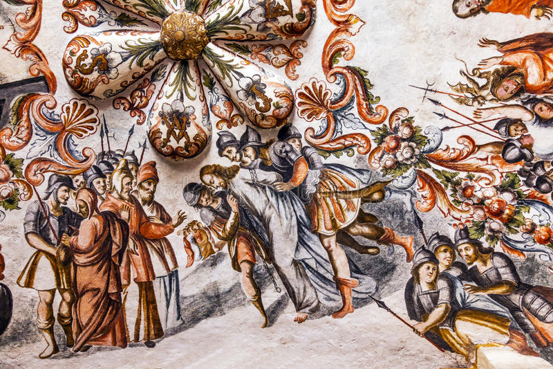 Jesus Arrest Fresco Sanctuary van Jesus Atotonilco Mexico stock foto's