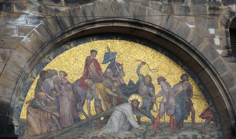 Jesus auf über Dolorosa stockfotografie