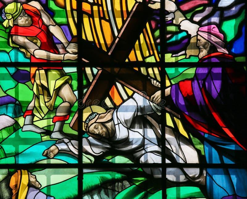 Jesus auf über Dolorosa - Buntglas lizenzfreie stockfotografie