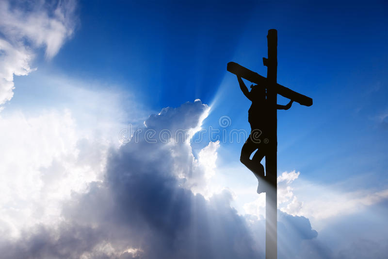 Jesus auf dem Kreuz stockfoto