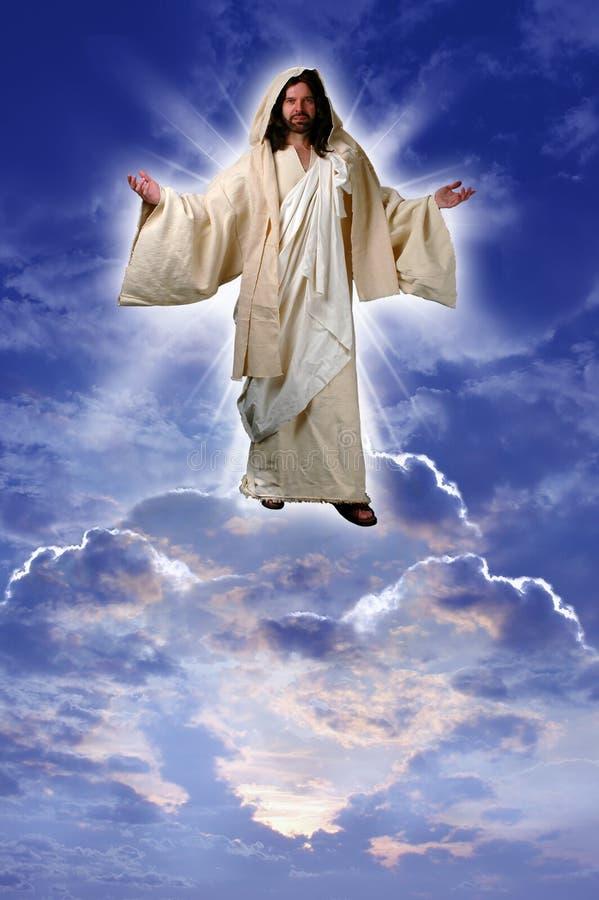 Jesus auf einer Wolke stockbilder
