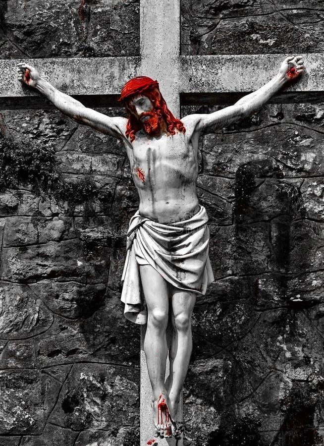 Jesus auf Kreuz stockbild