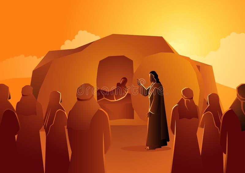 Jesus aumenta Lazarus dos mortos ilustração stock