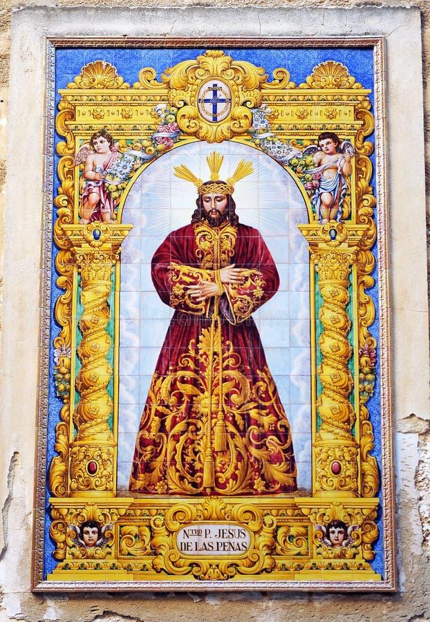 Jesus av sorger, keramisk altartavla, Cadiz, Spanien royaltyfria foton